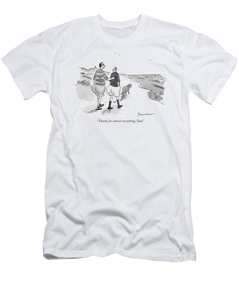 Fathers Men's T-Shirt (Athletic Fit) featuring the drawing Thanks For Almost Everything by Danny Shanahan