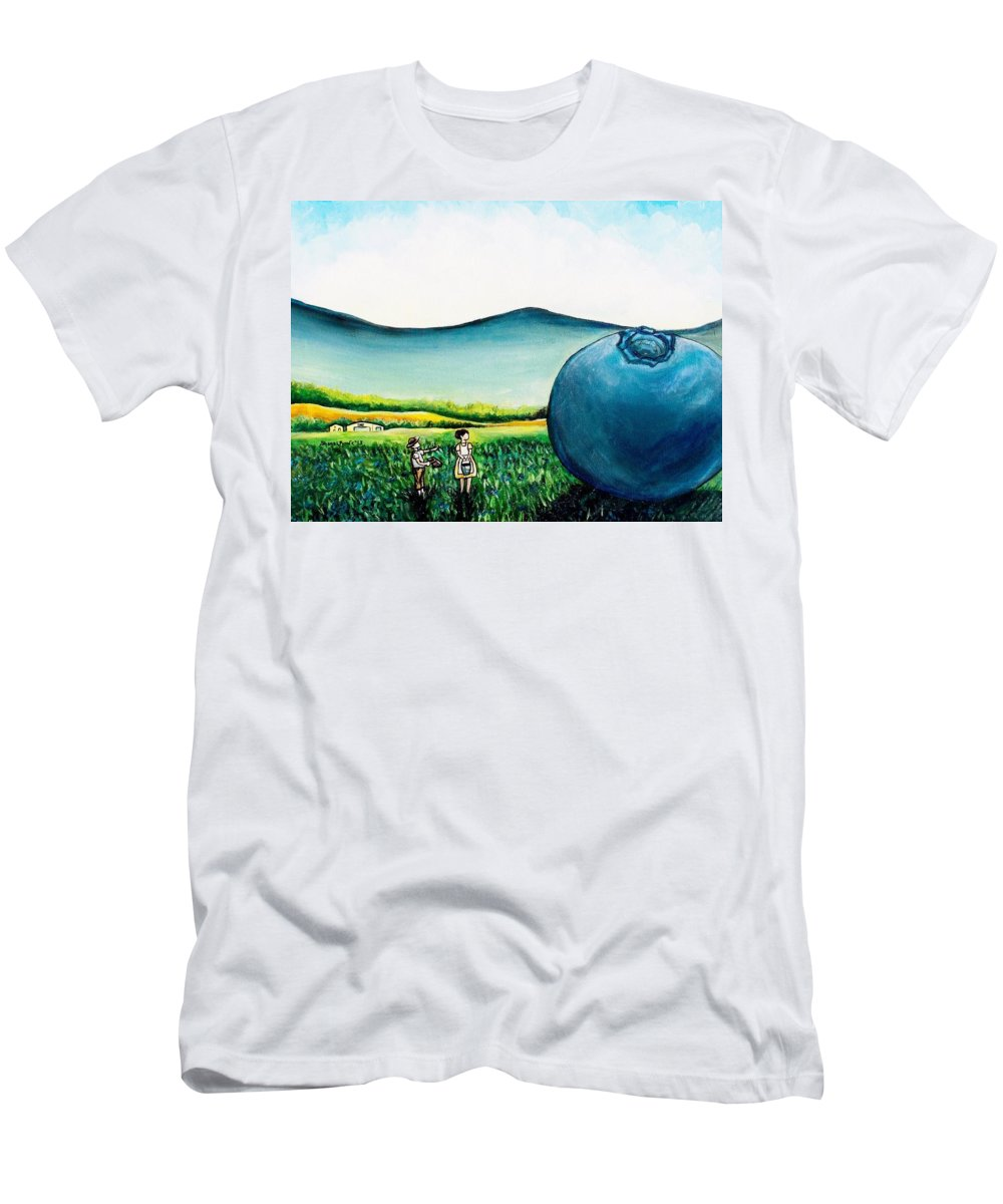 Blueberry Men's T-Shirt (Athletic Fit) featuring the painting That's Gonna Make A Lot Of Pies by Shana Rowe Jackson