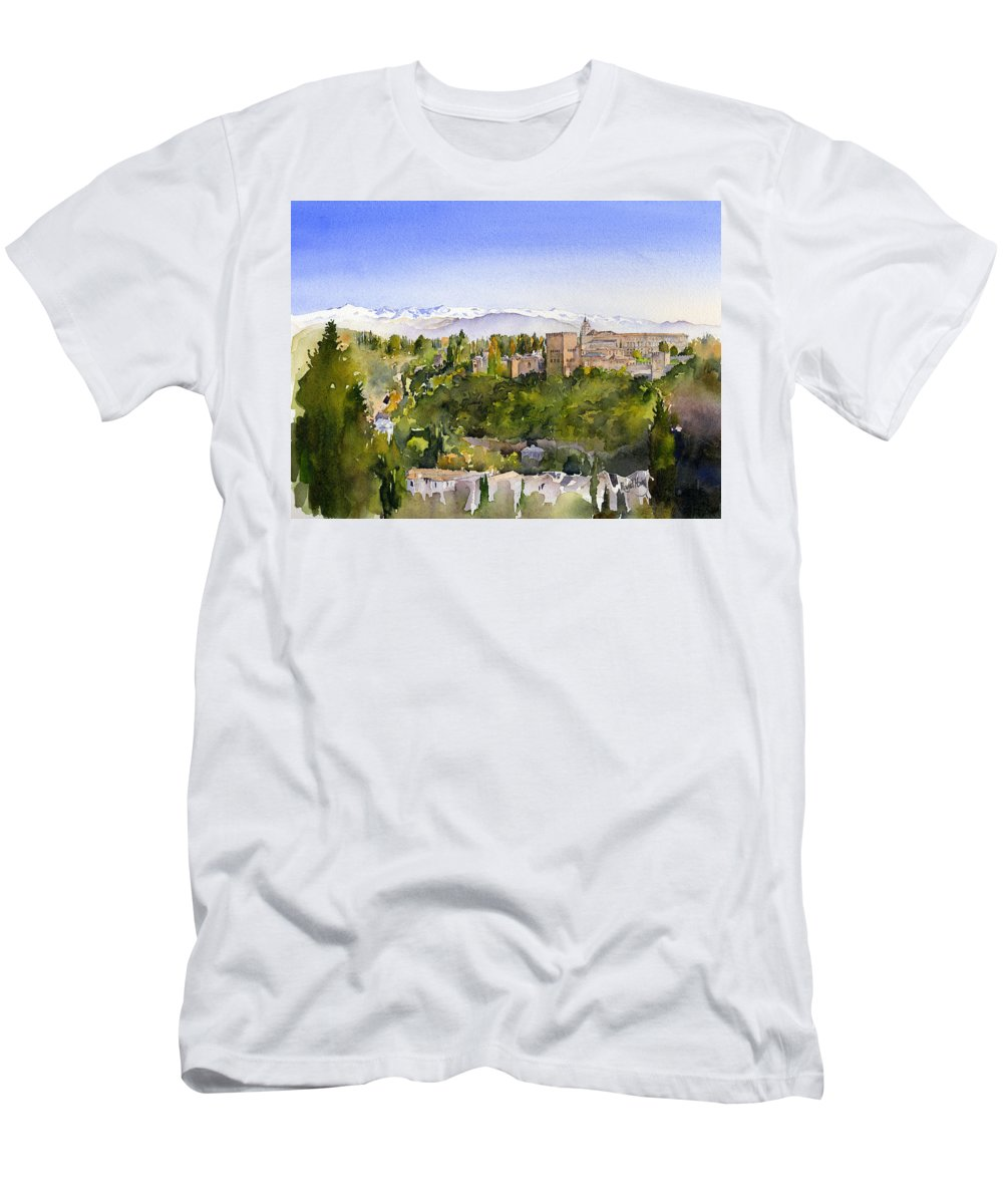 Watercolour Men's T-Shirt (Athletic Fit) featuring the painting The Alhambra Granada by Margaret Merry