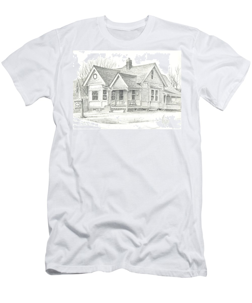 The Antique Shop Men's T-Shirt (Athletic Fit) featuring the drawing The Antique Shop by Kip DeVore