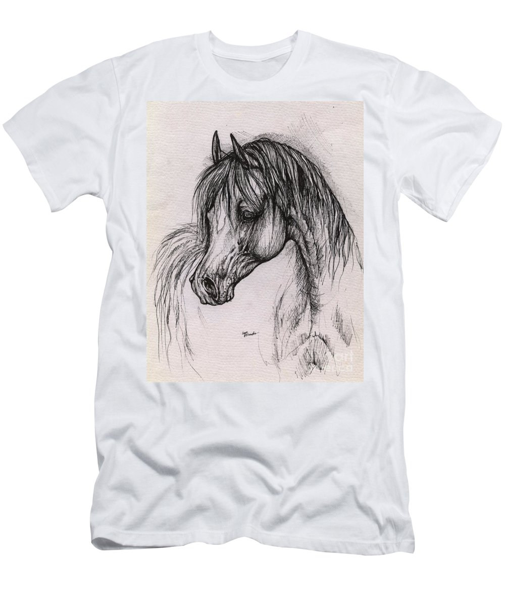 Arabian Horse Men's T-Shirt (Athletic Fit) featuring the drawing The Arabian Horse With Thick Mane by Angel Ciesniarska
