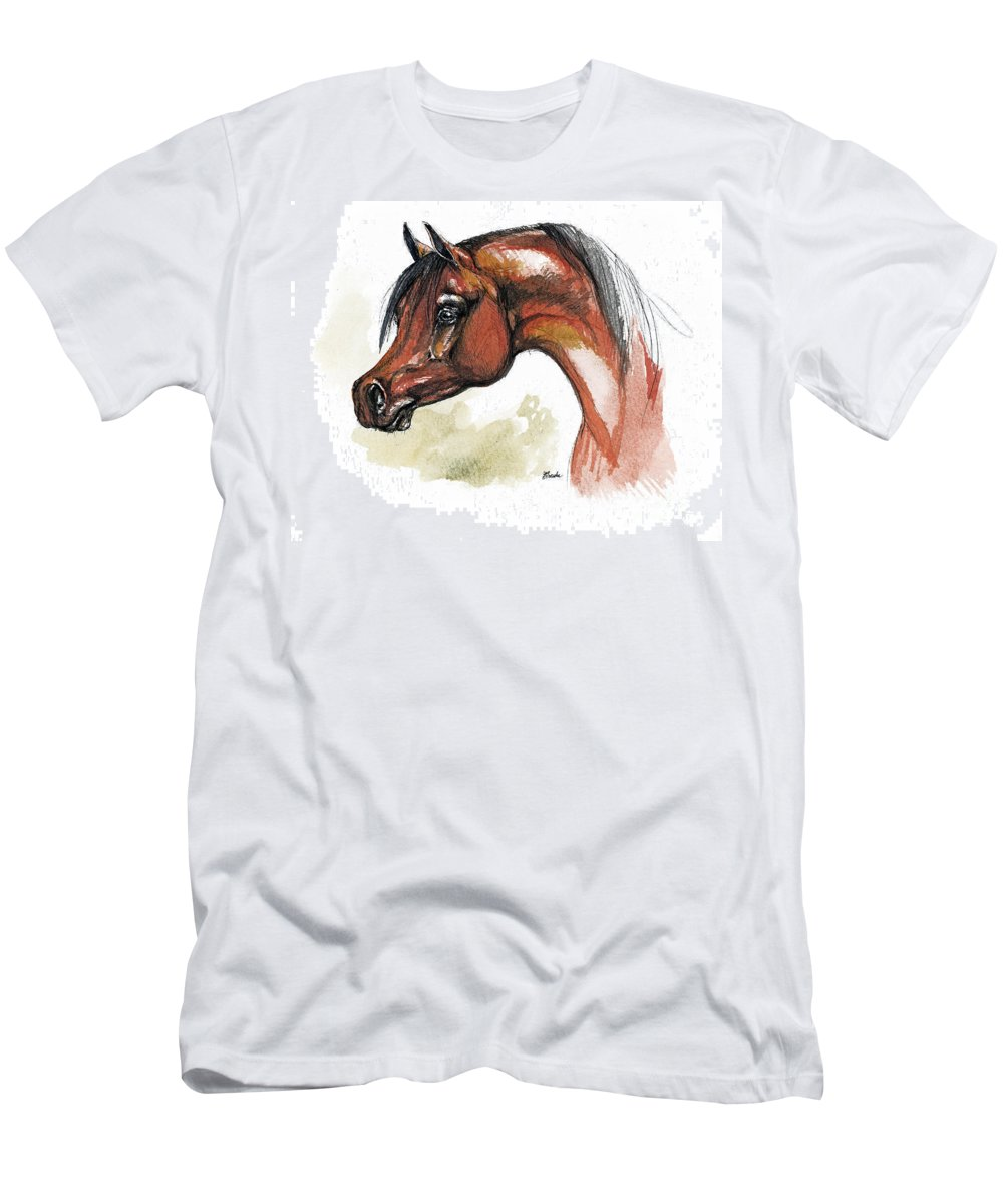 Arab Men's T-Shirt (Athletic Fit) featuring the painting The Bay Arabian Horse 15 by Angel Ciesniarska