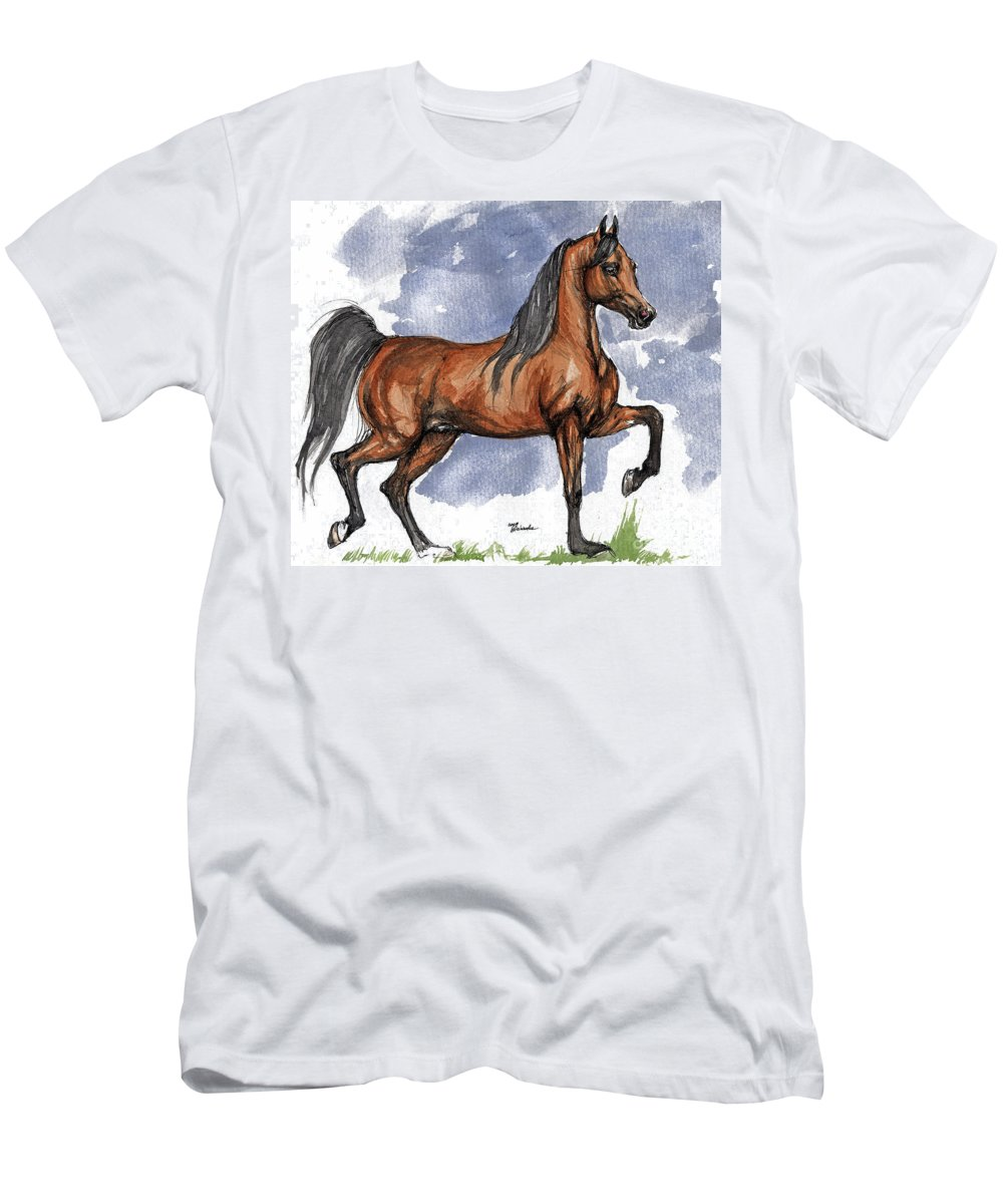 Bay Men's T-Shirt (Athletic Fit) featuring the painting The Bay Arabian Horse 17 by Angel Tarantella