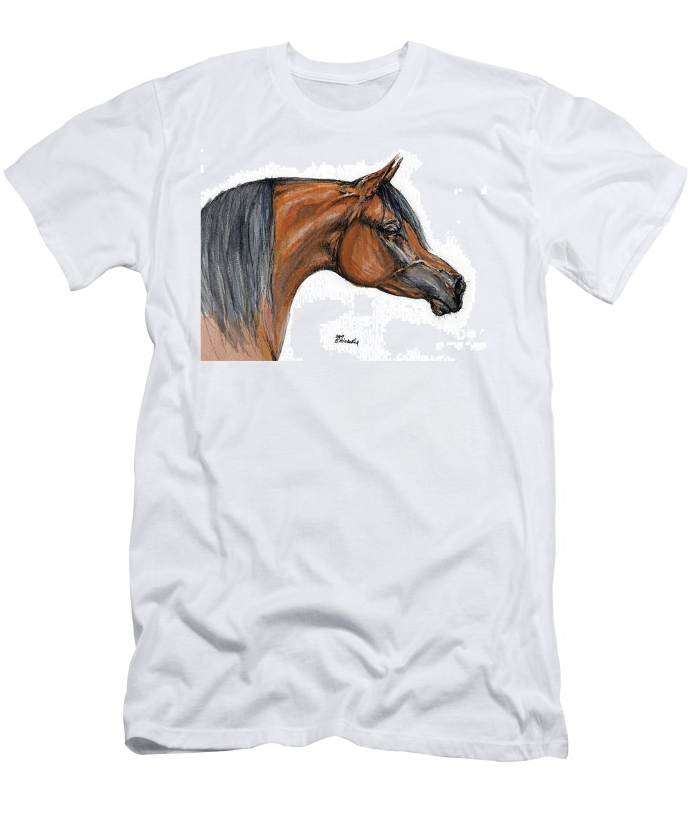 Arabian Men's T-Shirt (Athletic Fit) featuring the painting The Bay Arabian Horse 18 by Angel Ciesniarska