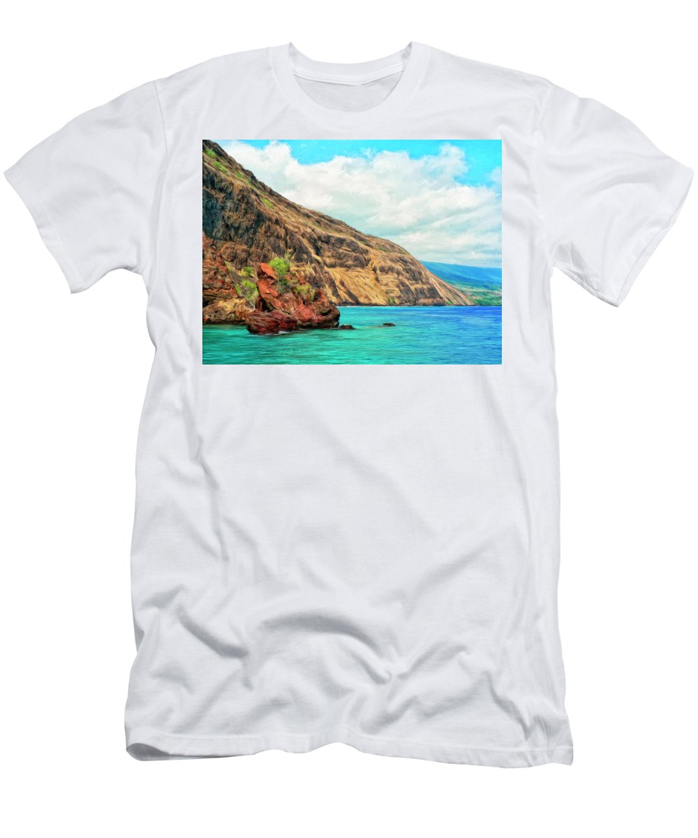 Bay At Kealakekua Men's T-Shirt (Athletic Fit) featuring the painting The Bay At Kealakekua by Dominic Piperata