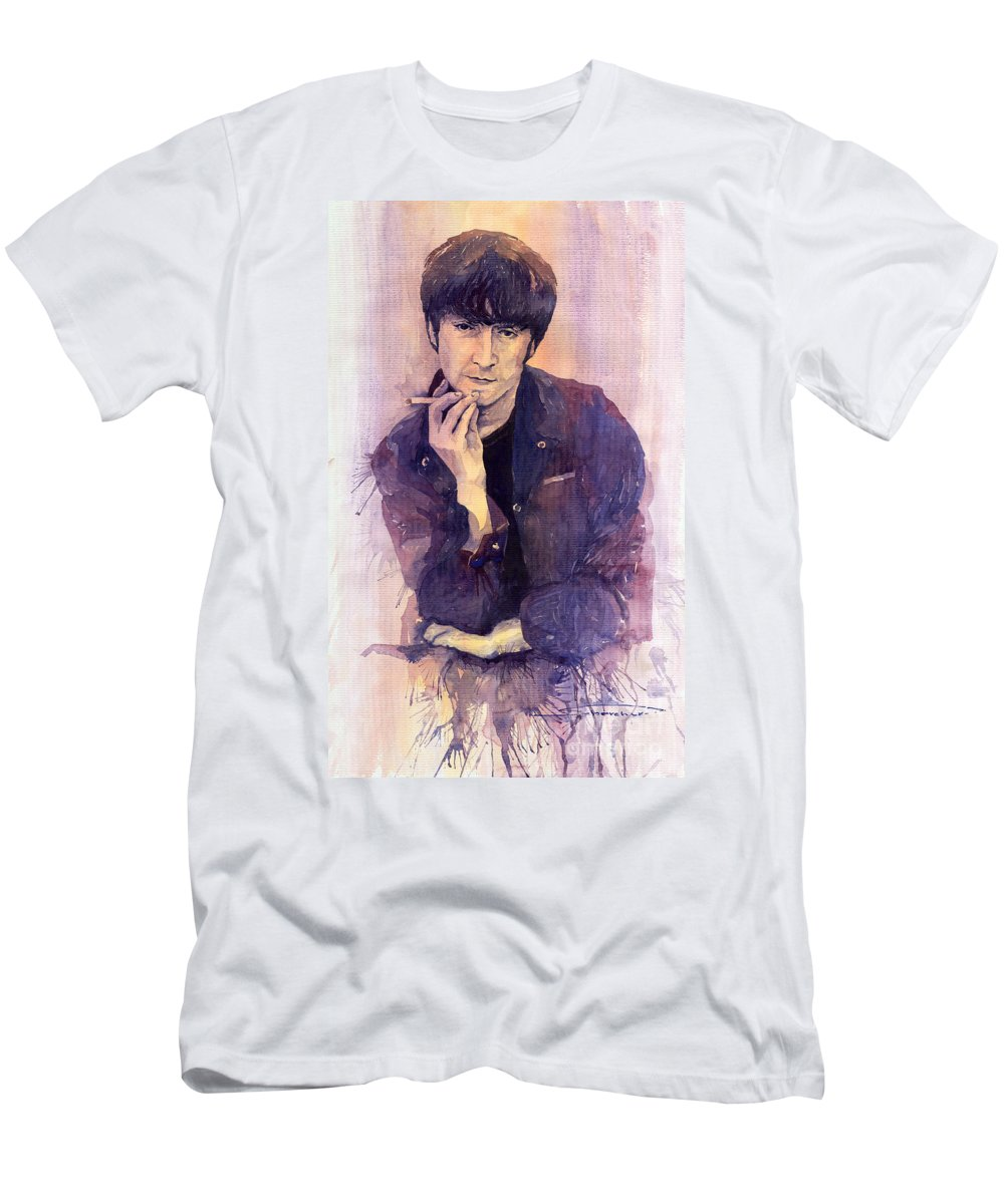 Watercolour Men's T-Shirt (Athletic Fit) featuring the painting The Beatles John Lennon by Yuriy Shevchuk