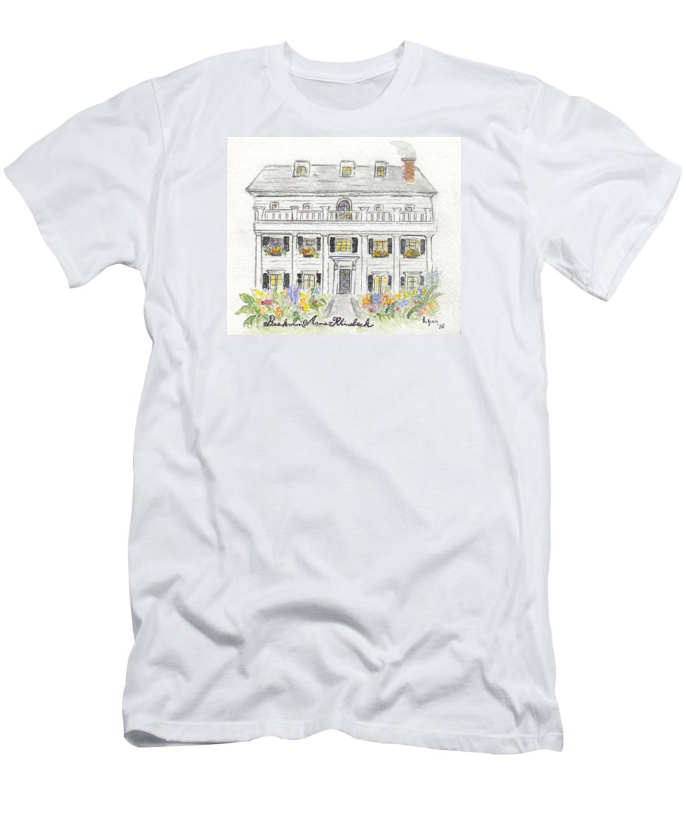 Beekman Arms Rhinebeck Men's T-Shirt (Athletic Fit) featuring the painting The Beekman Arms In Rhinebeck by AFineLyne