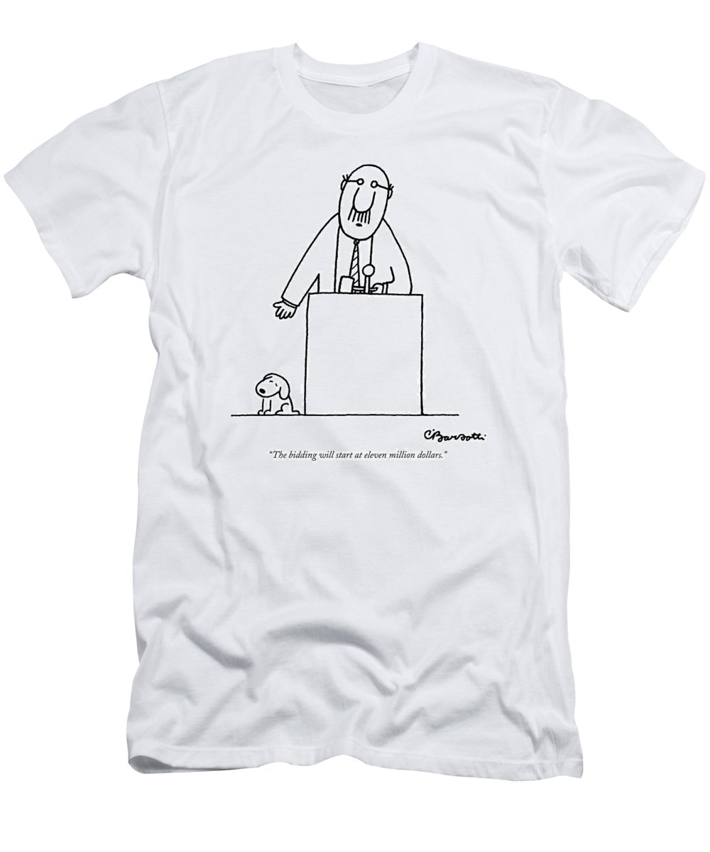 Auctioneer Men's T-Shirt (Athletic Fit) featuring the drawing The Bidding Will Start At Eleven Million Dollars by Charles Barsotti