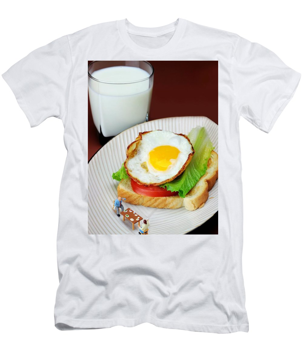 Breakfast Men's T-Shirt (Athletic Fit) featuring the photograph The Breakfast Little People On Food by Paul Ge