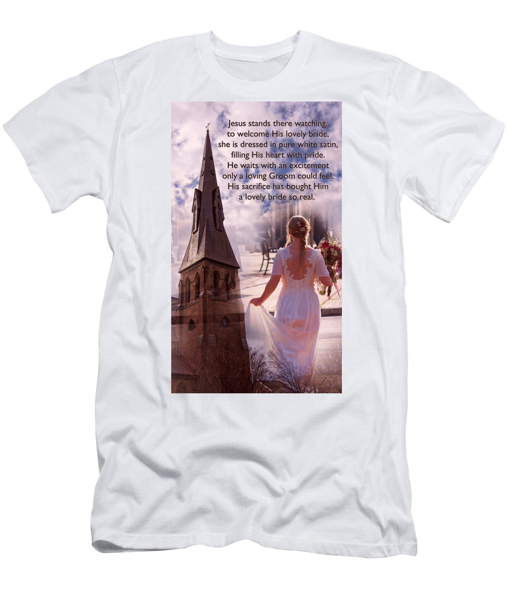 Bride Men's T-Shirt (Athletic Fit) featuring the photograph The Bride Of Christ Poem By Kathy Clark by Kathy Clark
