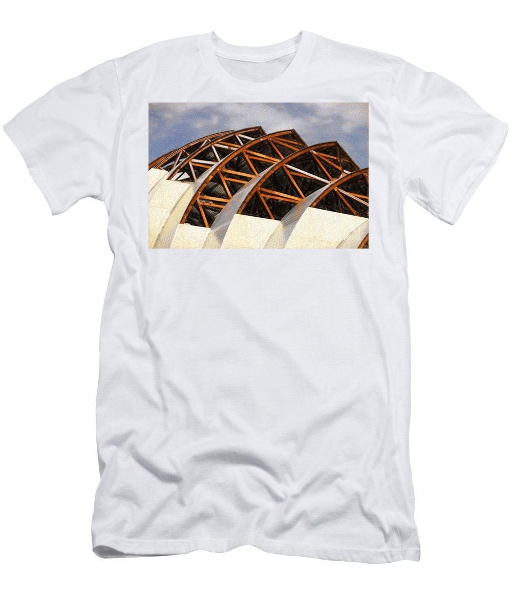 The Building Of Kauffman Men's T-Shirt (Athletic Fit) featuring the photograph The Building Of Kauffman by Liane Wright