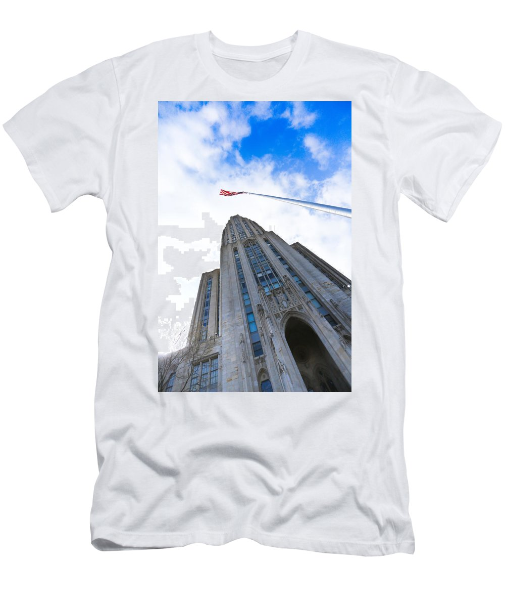 Cathedral Of Learning Pittsburgh Pa Oakland Pitt University College Education Taaffe Urban Panthers Students Frat Europe Andy Warhol Warhola East Pittsburgh Forbes Field Honus Wagner Men's T-Shirt (Athletic Fit) featuring the photograph The Cathedral Of Learning 4 by Jimmy Taaffe