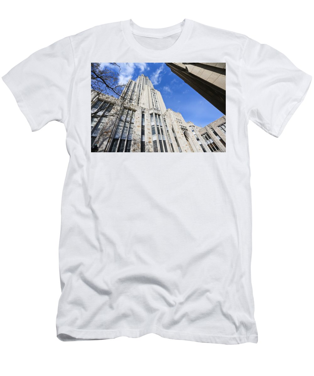 Cathedral Of Learning Pittsburgh Pa Oakland Pitt University College Education Taaffe Urban Panthers Students Frat Europe Andy Warhol Warhola East Pittsburgh Forbes Field Honus Wagner Men's T-Shirt (Athletic Fit) featuring the photograph The Cathedral Of Learning 5 by Jimmy Taaffe