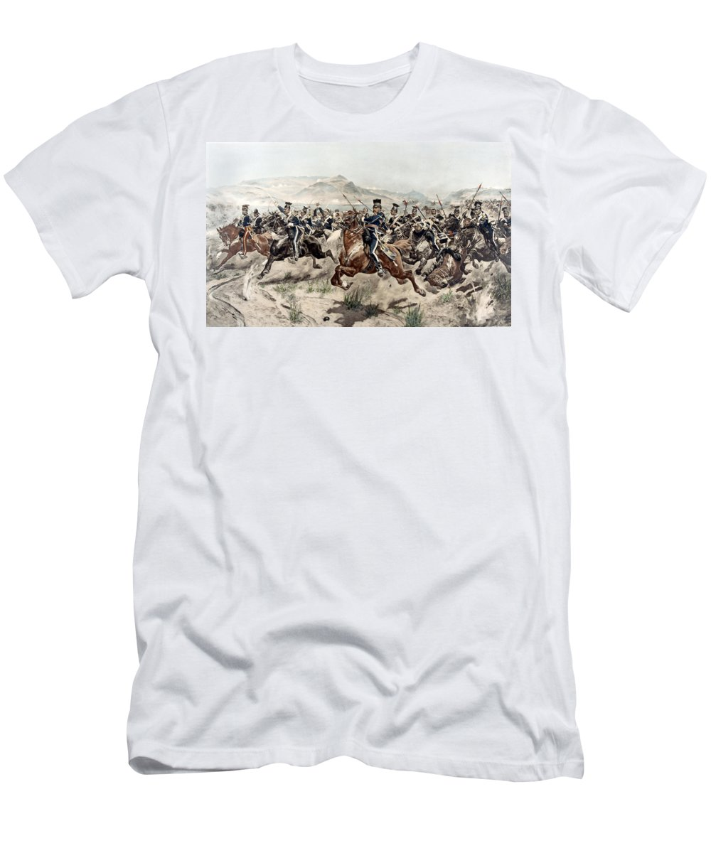 Crimean War Men's T-Shirt (Athletic Fit) featuring the painting The Charge Of The Light Brigade, 1895 by Richard Caton Woodville