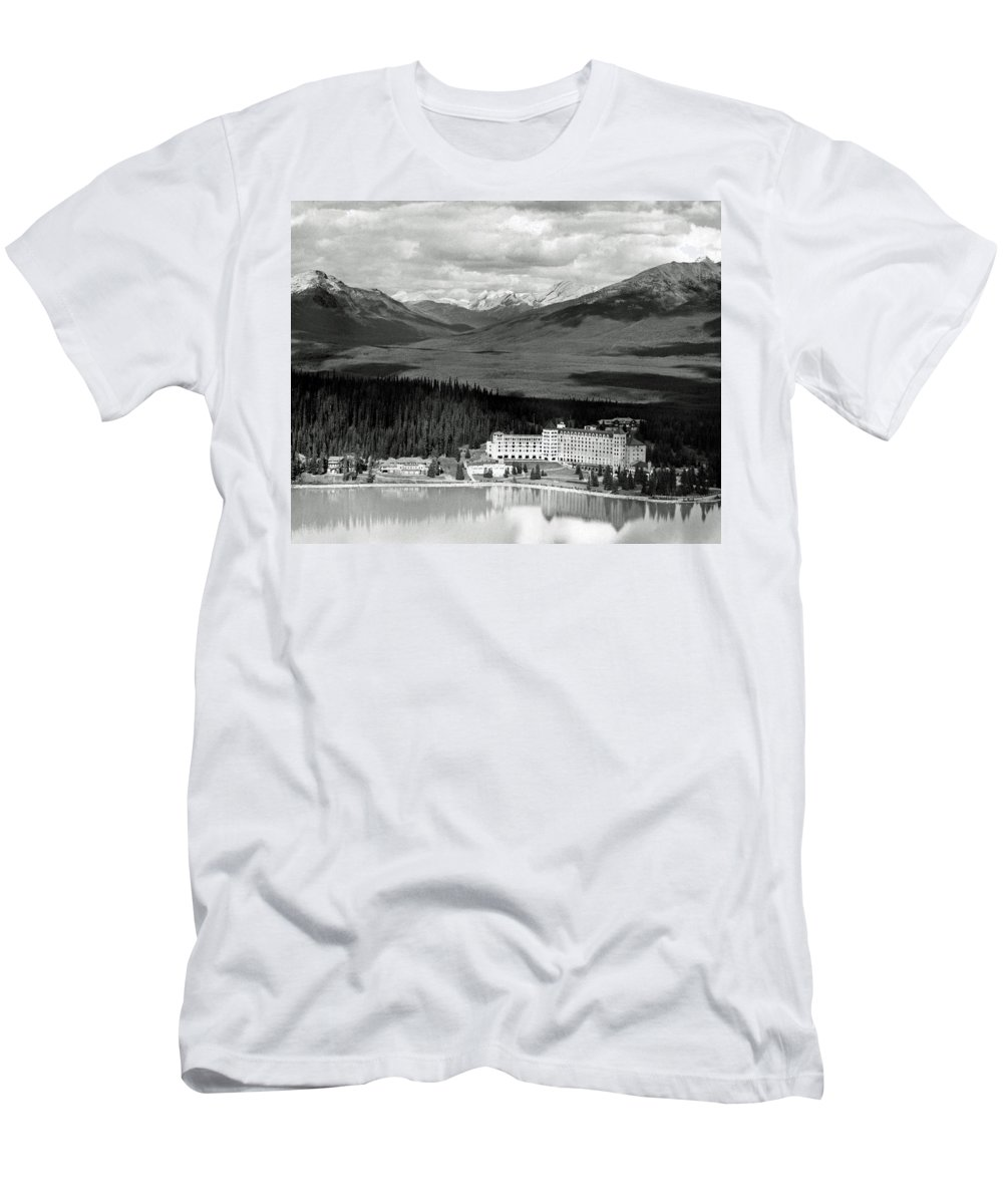 Chateau Lake Louise Men's T-Shirt (Athletic Fit) featuring the photograph The Chateau Lake Louise by Michael Moore