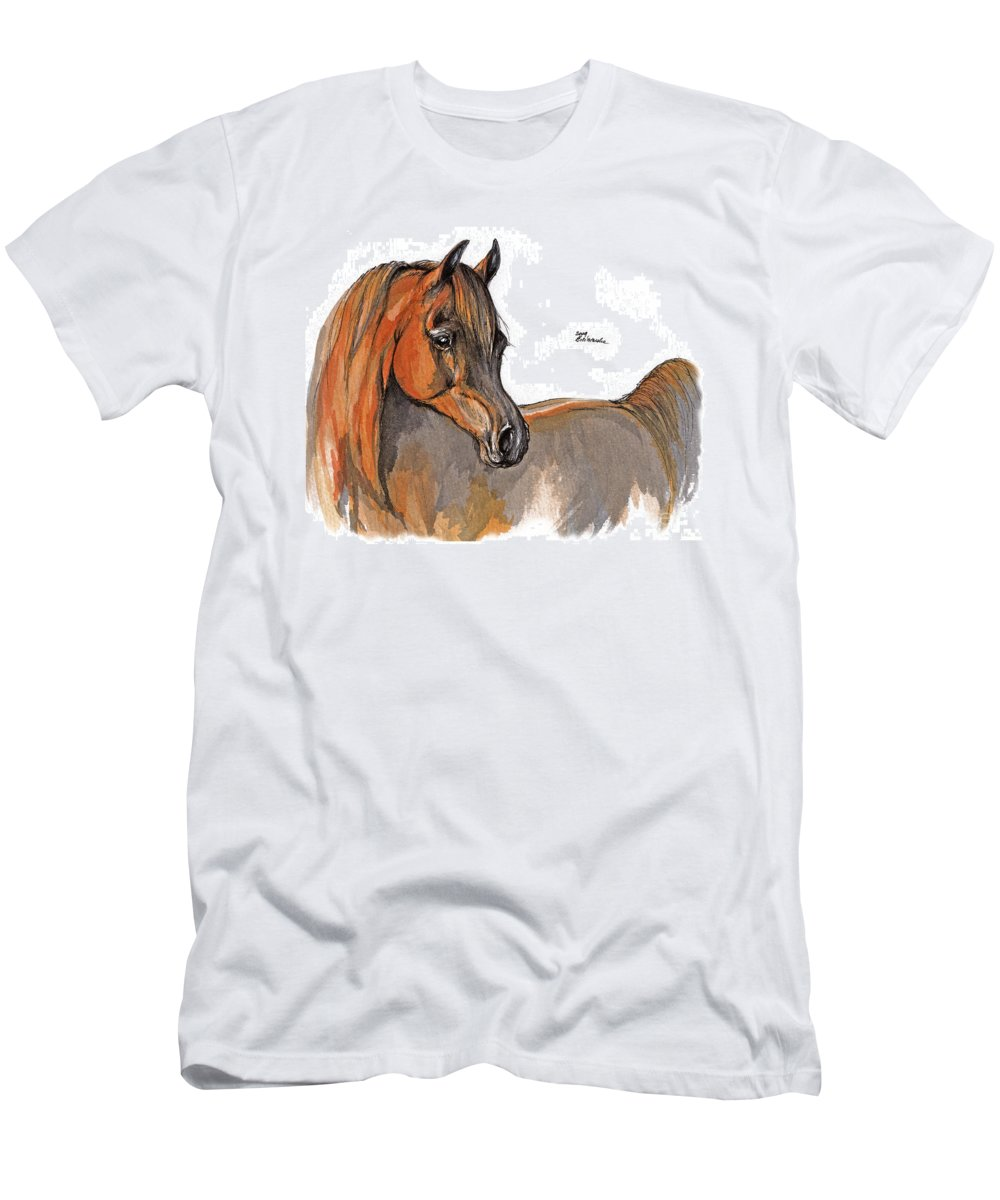 Chestnut Horse Men's T-Shirt (Athletic Fit) featuring the painting The Chestnut Arabian Horse 2a by Angel Ciesniarska