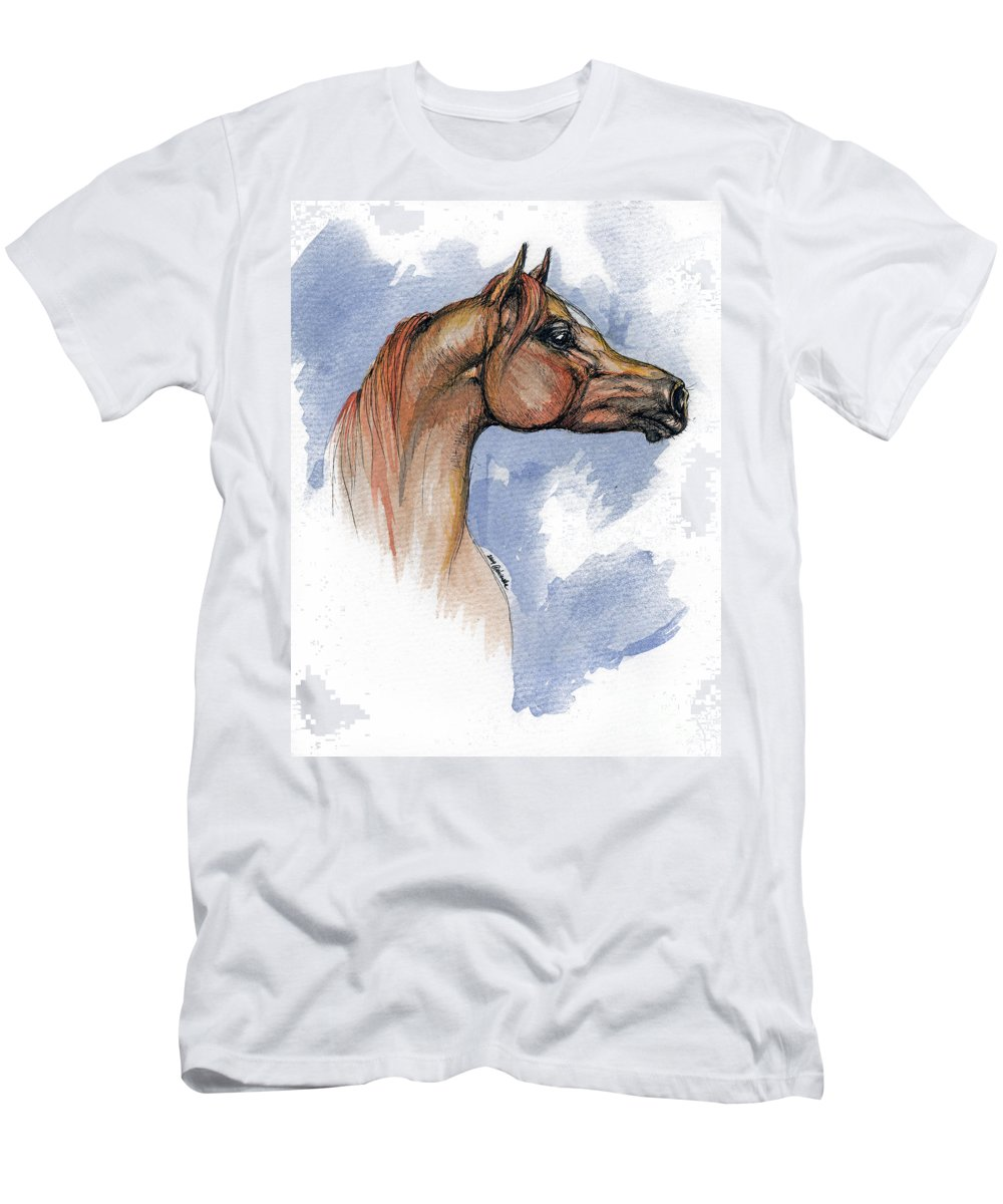 Arabian Men's T-Shirt (Athletic Fit) featuring the painting The Chestnut Arabian Horse 4 by Angel Tarantella