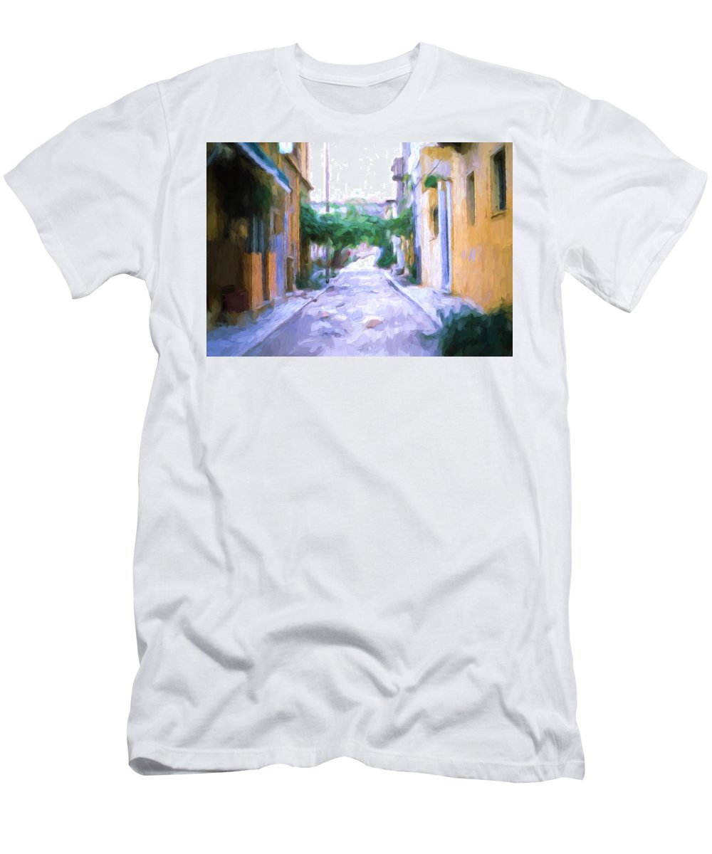 Spanish Streets Men's T-Shirt (Athletic Fit) featuring the digital art The Colors Of The Streets by Cathy Anderson