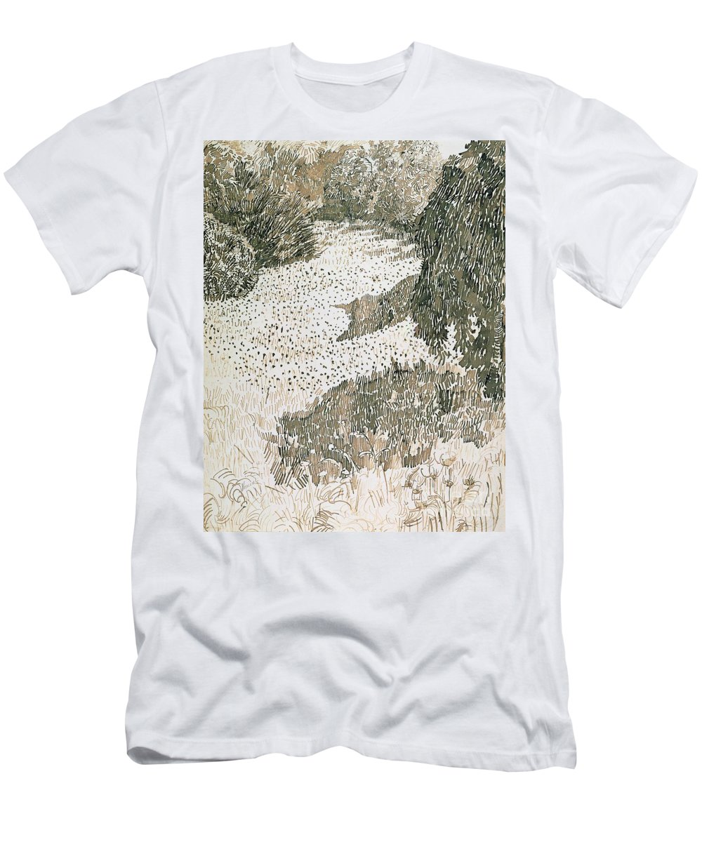 Drawing Men's T-Shirt (Athletic Fit) featuring the drawing The Corner Of The Park by Vincent van Gogh