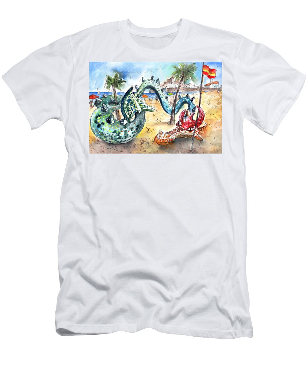 Travel Men's T-Shirt (Athletic Fit) featuring the painting The Dragon From Penicosla by Miki De Goodaboom