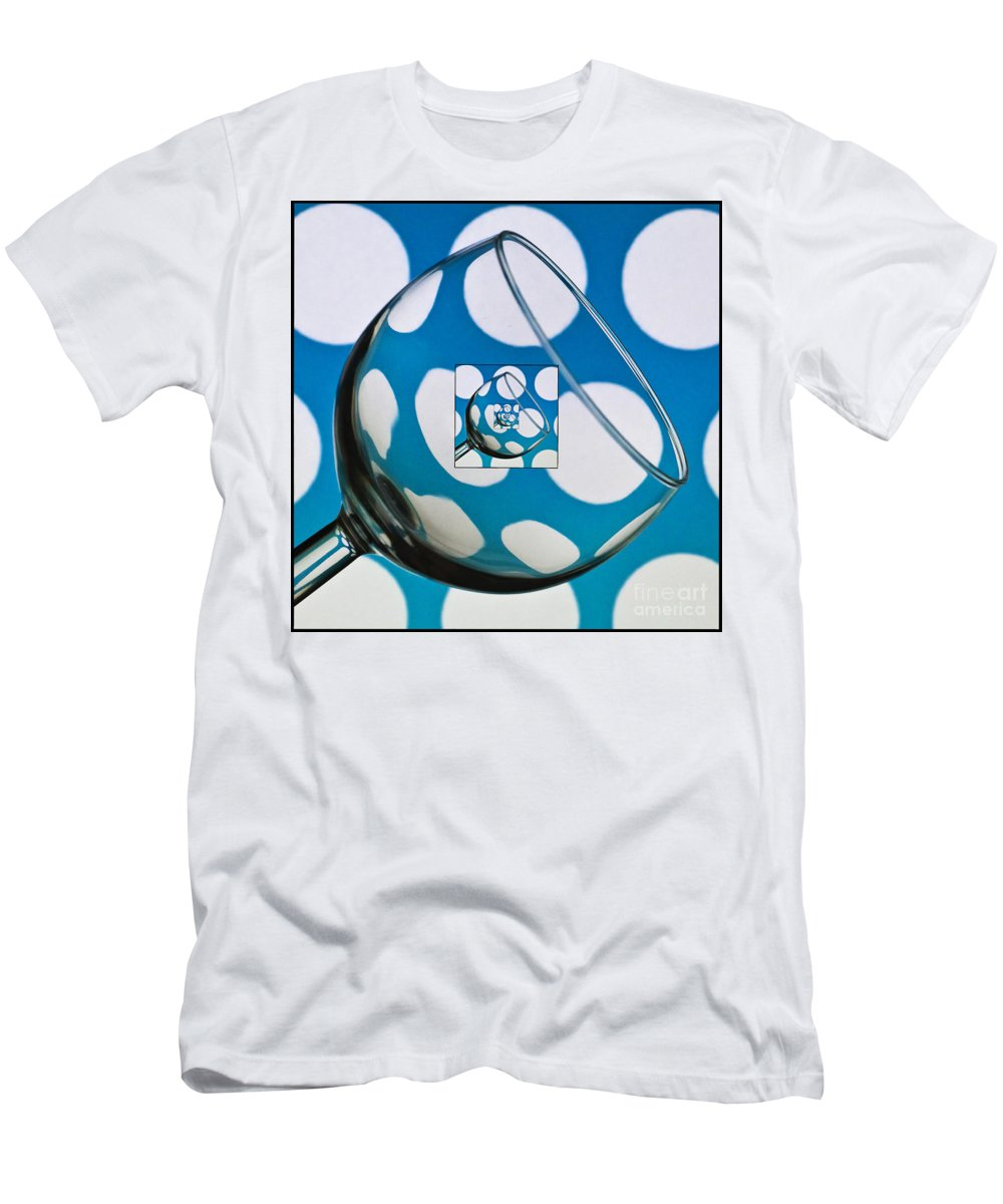 Wine Glass Men's T-Shirt (Athletic Fit) featuring the photograph The Eternal Glass Light Blue by Steve Purnell