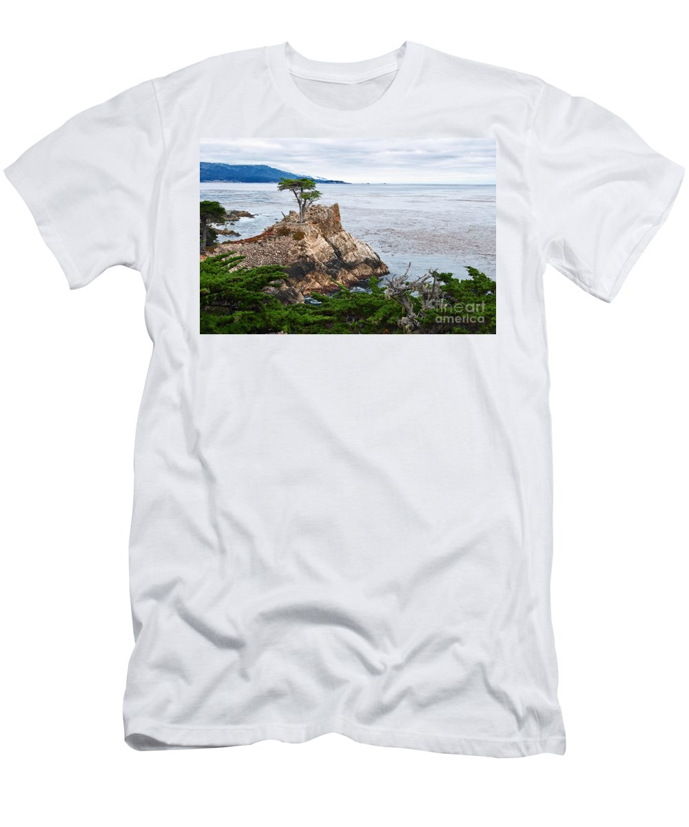 Lone Cypress Men's T-Shirt (Athletic Fit) featuring the photograph The Famous Lone Cypress Tree At Pebble Beach In Monterey California by Jamie Pham