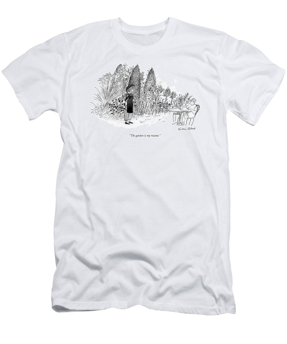 Relationships Men's T-Shirt (Athletic Fit) featuring the drawing The Garden Is My Resume by Victoria Roberts