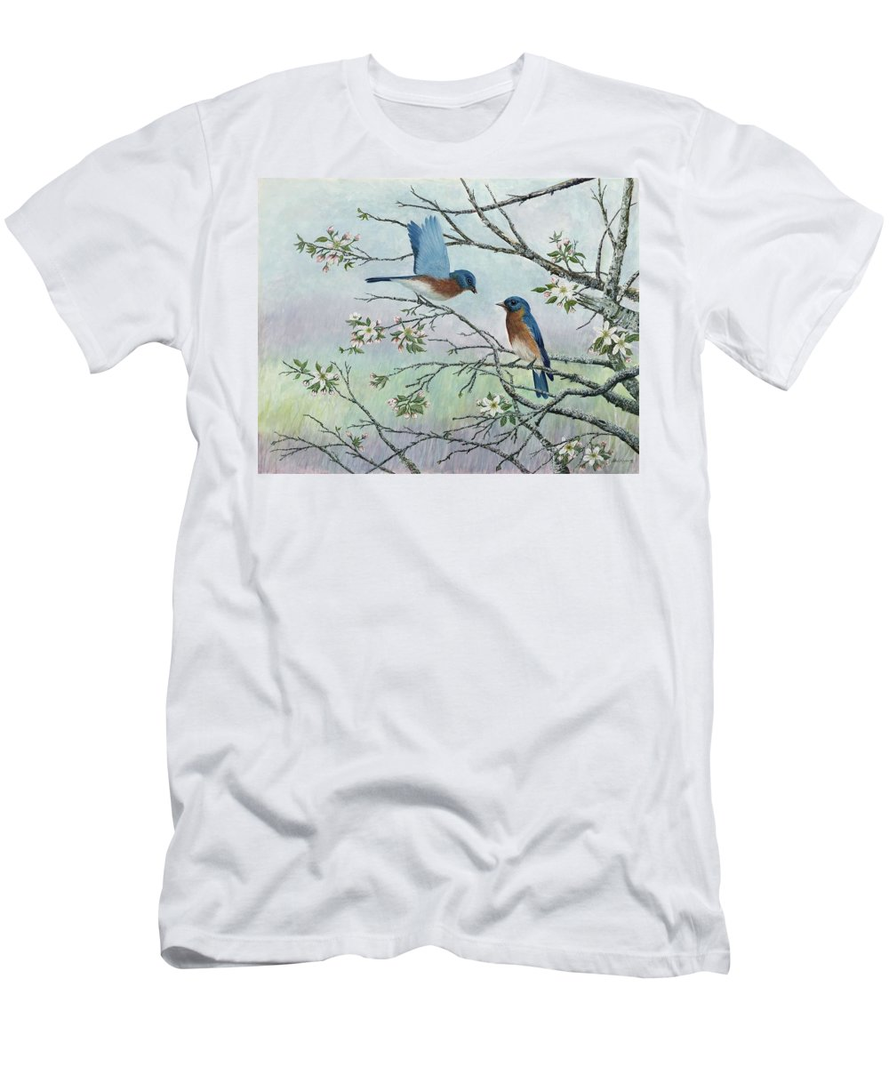Bluebirds; Trees; Wildlife Men's T-Shirt (Athletic Fit) featuring the painting The Gift by Ben Kiger