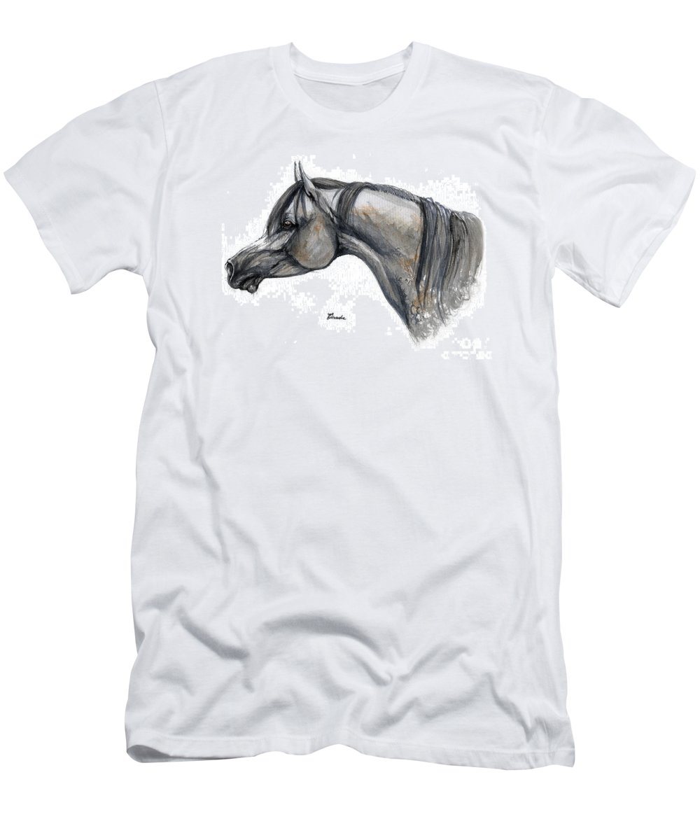 Horse Men's T-Shirt (Athletic Fit) featuring the painting The Grey Arabian Horse 11 by Angel Ciesniarska