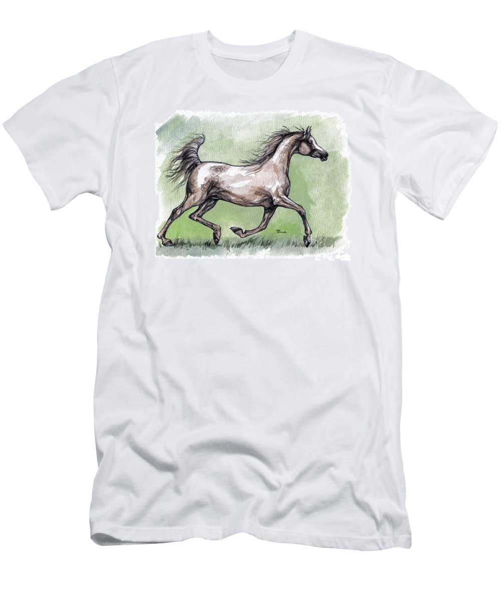 Horse Men's T-Shirt (Athletic Fit) featuring the painting The Grey Arabian Horse 8 by Angel Ciesniarska