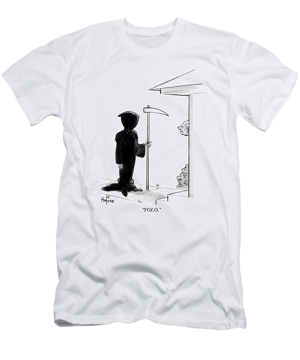 Yolo Men's T-Shirt (Athletic Fit) featuring the drawing Yolo by Kaamran Hafeez