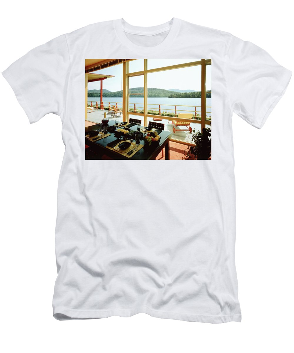 Indoors Men's T-Shirt (Athletic Fit) featuring the photograph The House Of Mr. And Mrs. Alfred Rose On Lake by Robert M. Damora