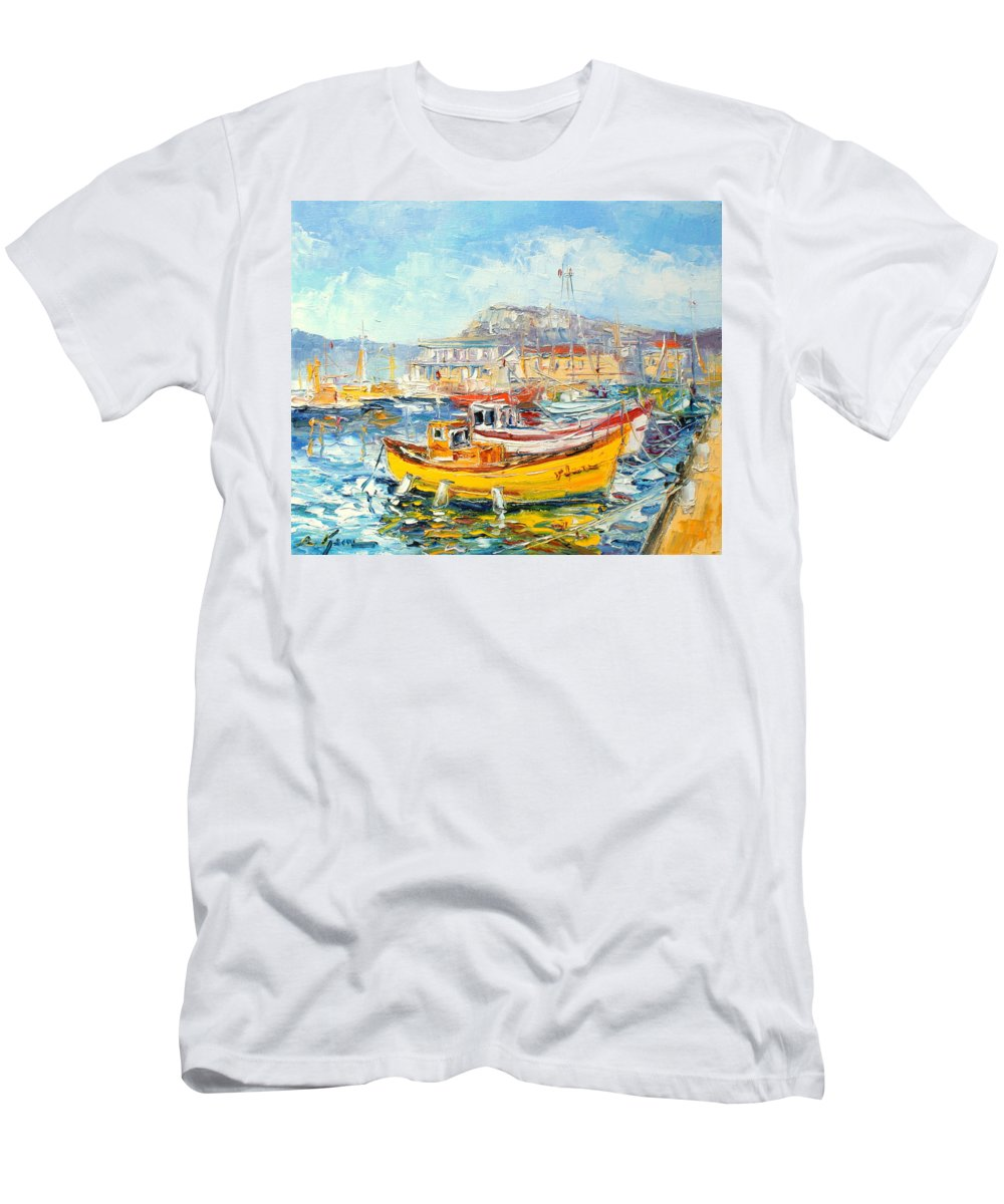 Kalk Bay Men's T-Shirt (Athletic Fit) featuring the painting The Kalk Bay Harbour by Luke Karcz