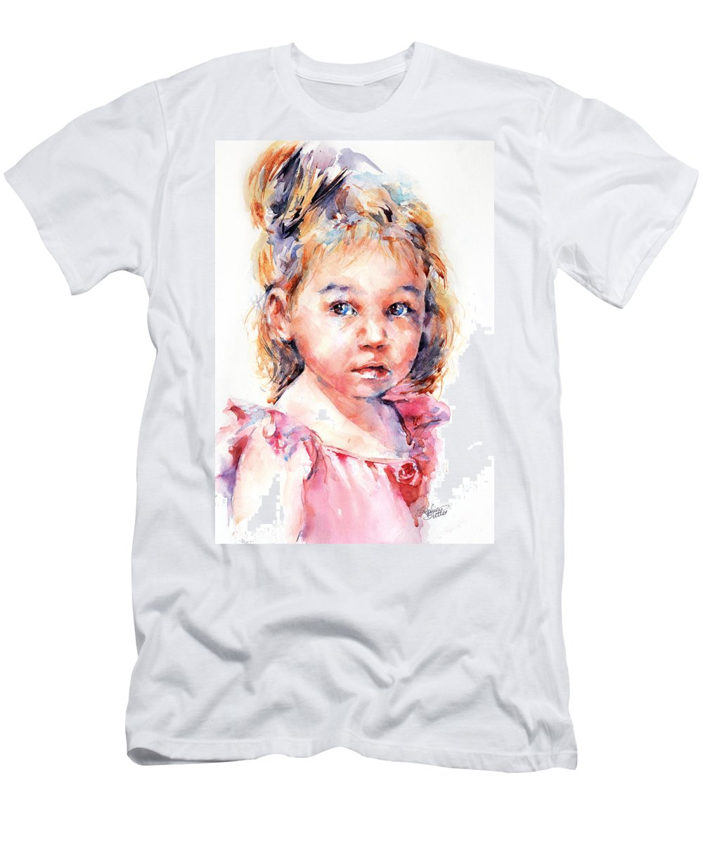 Girl Men's T-Shirt (Athletic Fit) featuring the painting The Little Ballerina by Stephie Butler