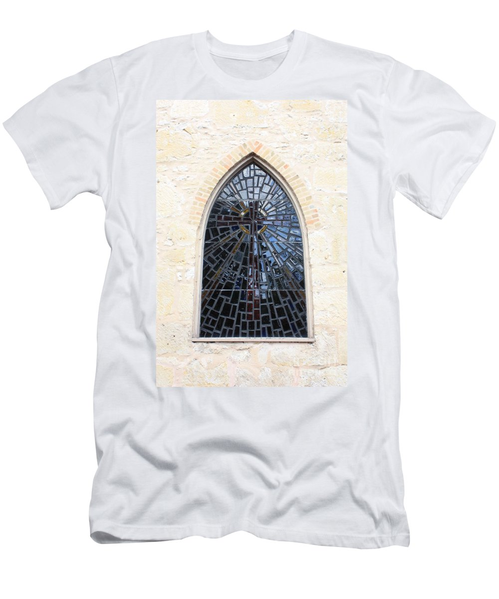 The Little Church In San Antonio Men's T-Shirt (Athletic Fit) featuring the photograph The Little Church Window by Carol Groenen