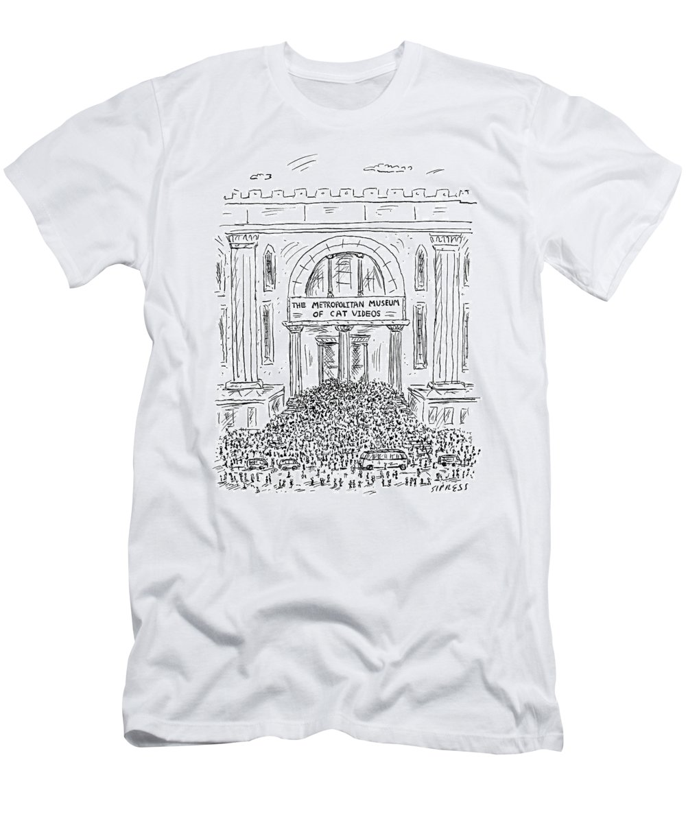 Captionless Men's T-Shirt (Athletic Fit) featuring the drawing The Metropolitan Museum Of Cat Videos Thronged by David Sipress