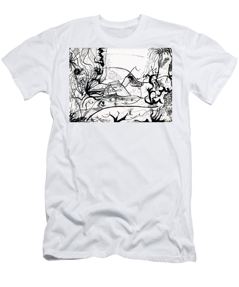 Abstract Men's T-Shirt (Athletic Fit) featuring the painting The Middle Of Nowhere by Myrtle Joy