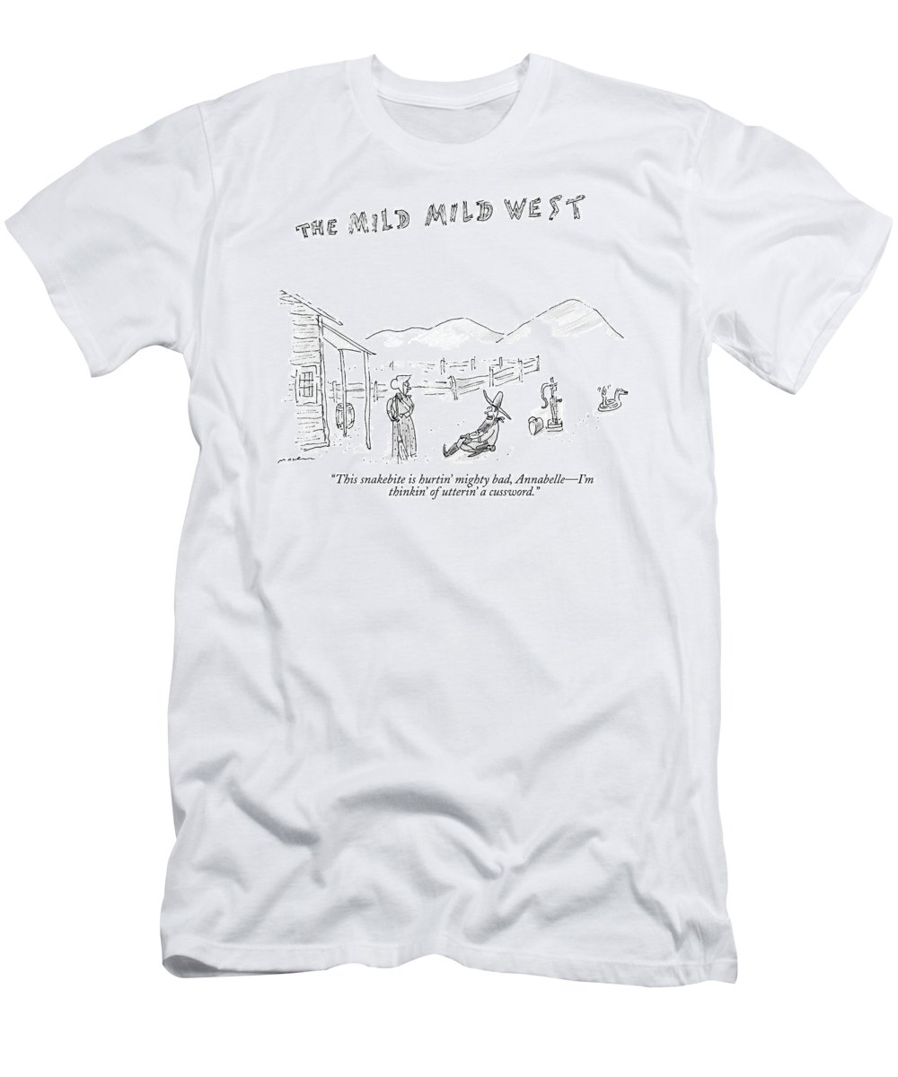 Snakes T-Shirt featuring the drawing The Mild Mild West. A Cowboy In A Western Setting by Michael Maslin