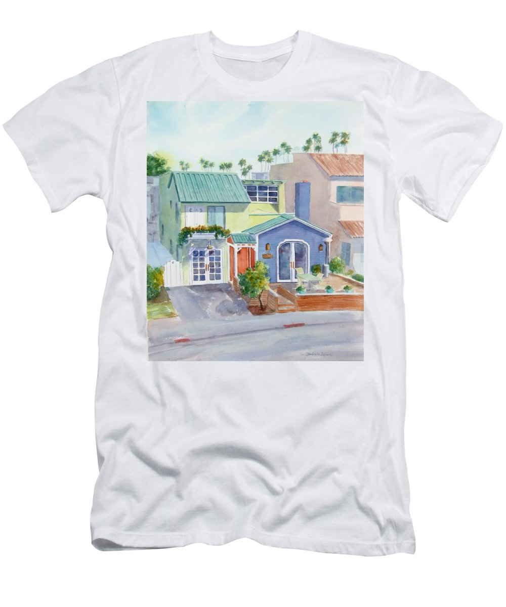 Belmont Shore Men's T-Shirt (Athletic Fit) featuring the painting The Most Colorful Home In Belmont Shore by Debbie Lewis