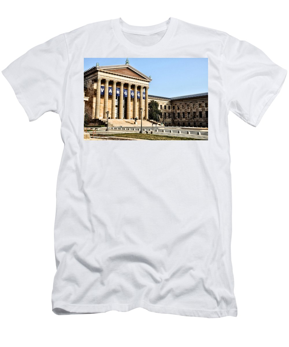 The Museum Of Art In Philadelphia Men's T-Shirt (Athletic Fit) featuring the photograph The Museum Of Art In Philadelphia by Bill Cannon