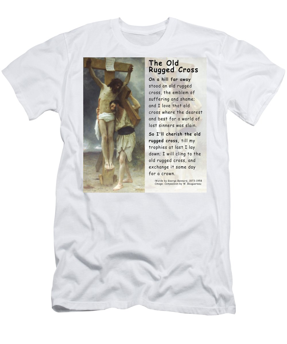 The Old Rugged Cross Men's T-Shirt (Athletic Fit) featuring the digital art The Old Rugged Cross by William Bouguereau