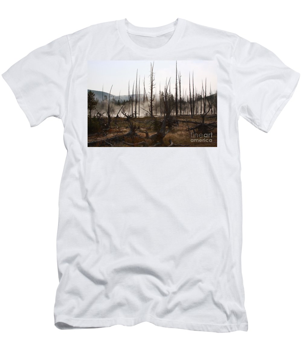 Burned Trees Men's T-Shirt (Athletic Fit) featuring the photograph The Remainder by Robin Maria Pedrero