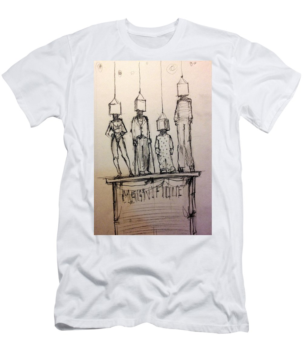 Circus Men's T-Shirt (Athletic Fit) featuring the drawing The Reveal by H James Hoff