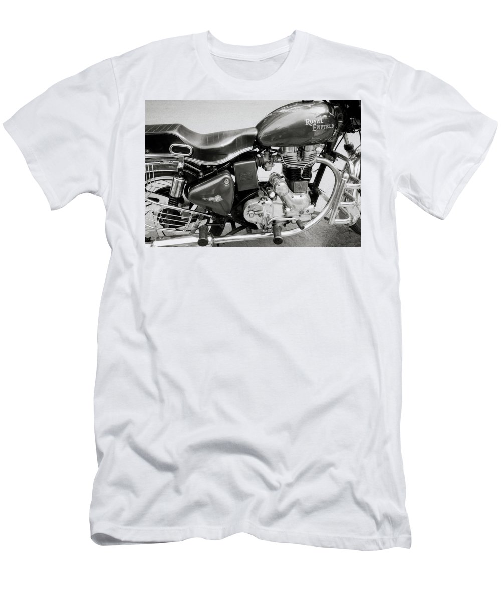Motorbike Men's T-Shirt (Athletic Fit) featuring the photograph The Royal Enfield Motorbike by Shaun Higson
