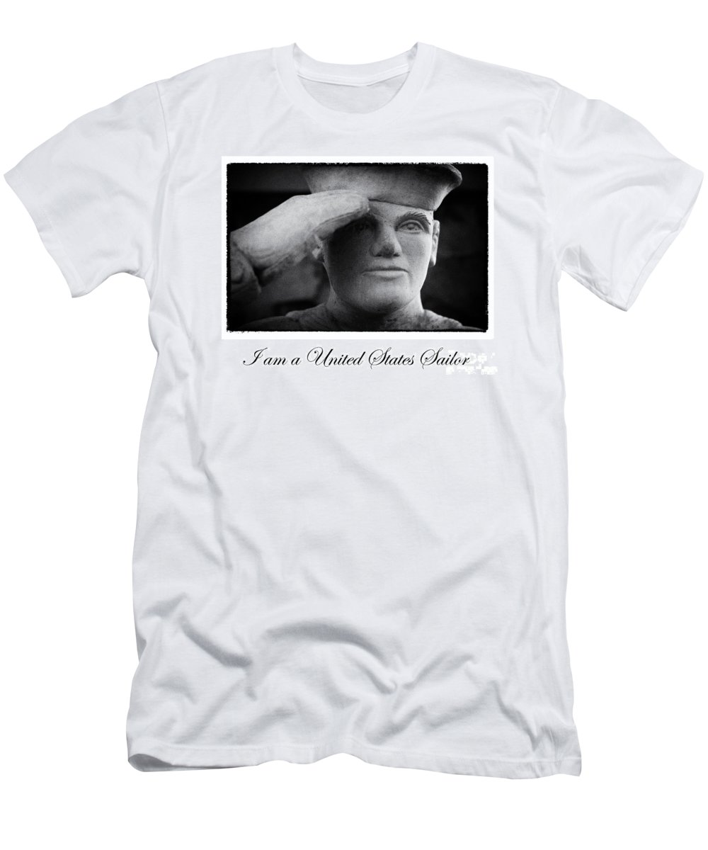 Navy Men's T-Shirt (Athletic Fit) featuring the digital art The Sailors Creed by Tony Cooper
