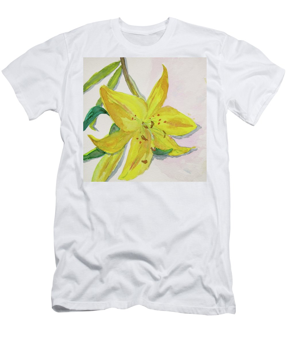 Lily Men's T-Shirt (Athletic Fit) featuring the painting The Trickiness Of Yellow by Beverley Harper Tinsley