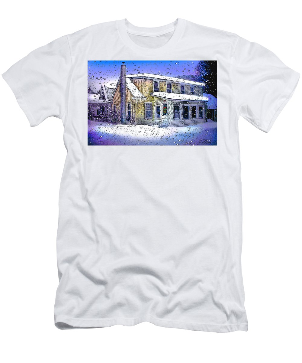 Vermont Men's T-Shirt (Athletic Fit) featuring the digital art The Vermont Homestead by Nancy Griswold