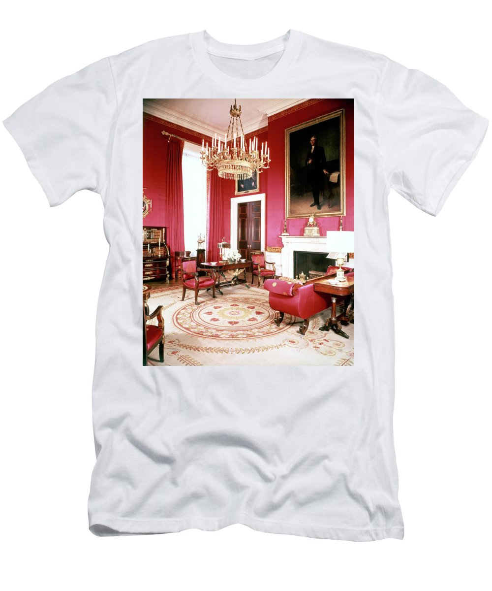 Home Men's T-Shirt (Athletic Fit) featuring the photograph The White House Red Room by Tom Leonard