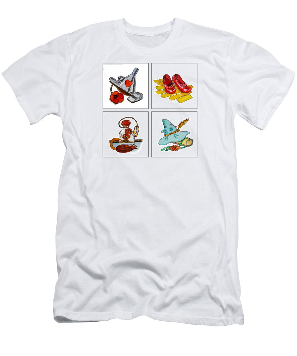 Wizard Of Oz Men's T-Shirt (Athletic Fit) featuring the painting The Wonderful Wizard Of Oz by Irina Sztukowski