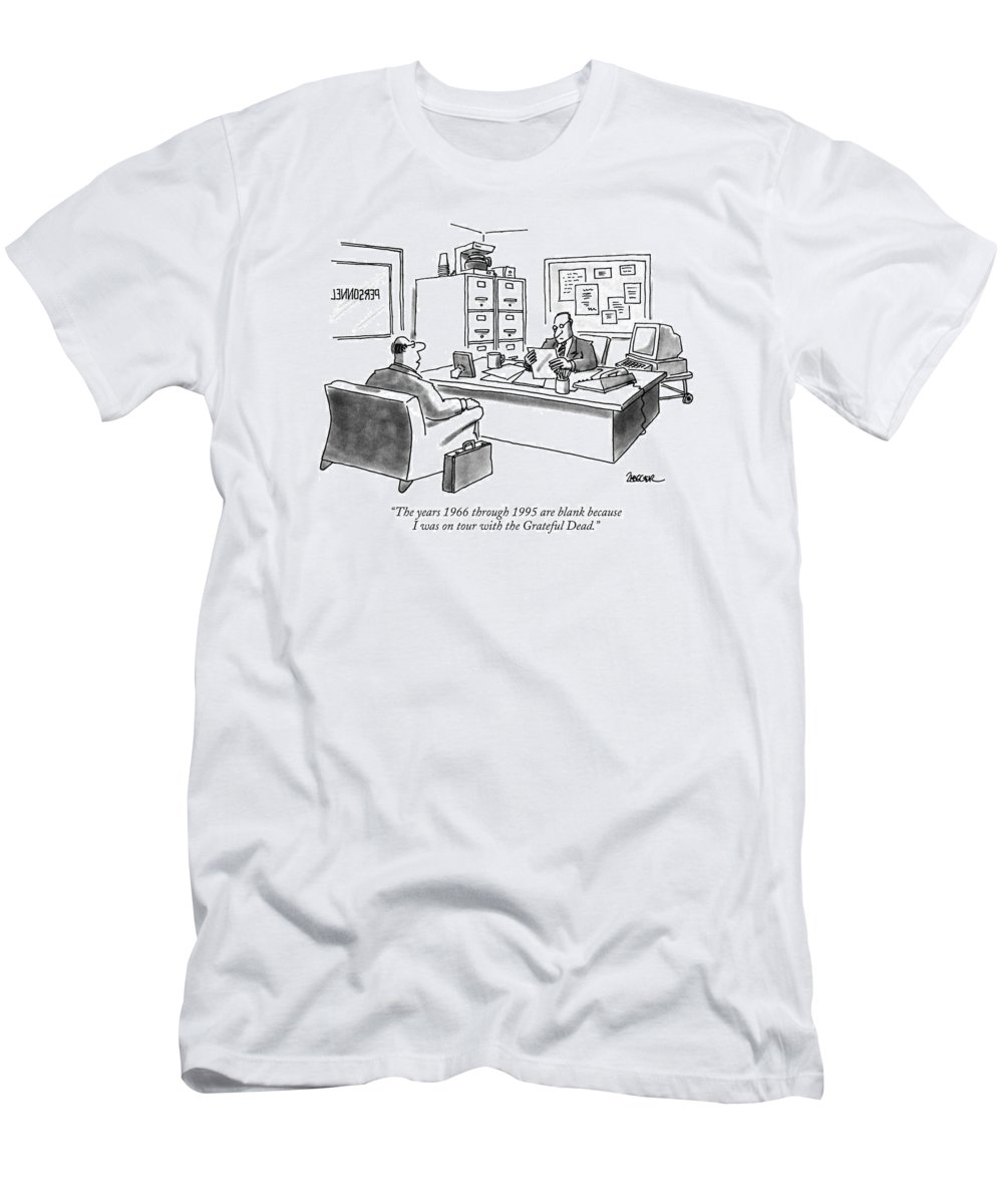 Middle-aged Man To Interviewer In Personnel Office As He Looks At His Resume. Celebrities Men's T-Shirt (Athletic Fit) featuring the drawing The Years 1966 Through 1995 Are Blank Because by Jack Ziegler